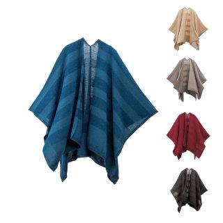tate-S 羽織るポンチョ / 洗えるmino 上品なウールボーダー