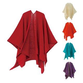 tate-L 羽織るポンチョ / なめらかアルパカ 同色ボーダー