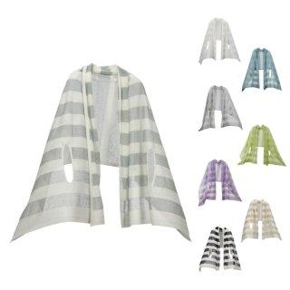 nico 羽織るポンチョ / 涼しい夏の麻 透けるボーダー