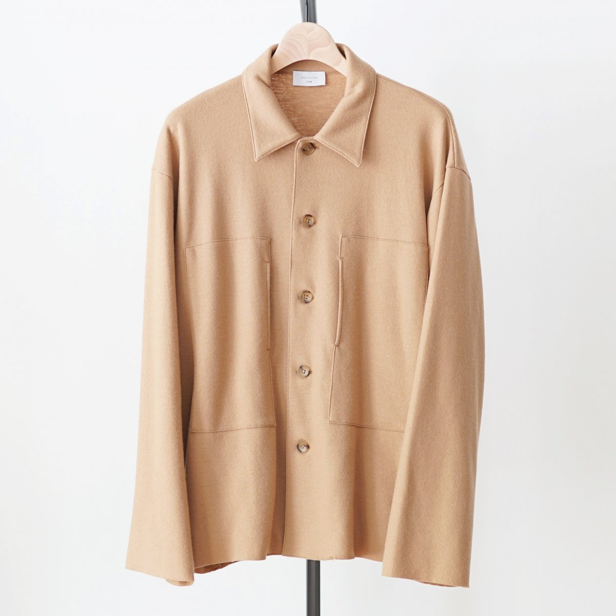 【UNDECORATED アンデコレイテッド】S'140 WOOL KNIT MELTON SHIRT - CAMEL