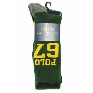 POLO RALPHLAUREN ポロ ラルフローレン POLO 67&BORDER 2-PACK SOCKS/HUNTER GREEN/NAVY