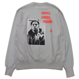 FOR THE HOMIES フォーザホーミーズ HOMIES, LOVERS, FRIENDS CHAMPION CREWNECK SWEAT/OXFORD GREY