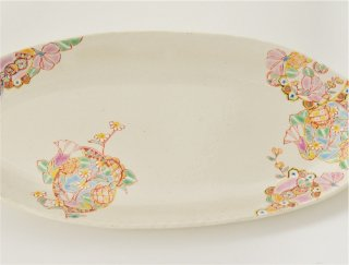 長皿(楕円) 花色輪舞