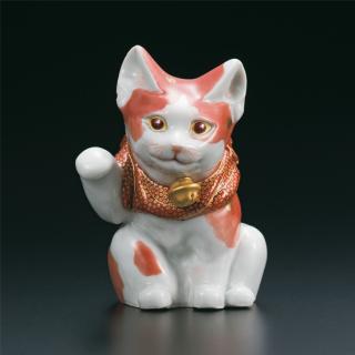 4号招き猫 赤絵細描  福島武山