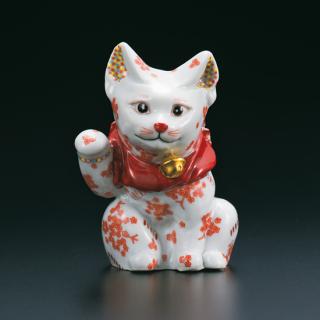 4号招き猫 赤絵細描小花ちらし  架谷庸子