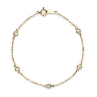 K18 5石ステーションダイヤモンド ブレスレット Petit Bezel (プティベゼル) 003 0.15ctの商品画像