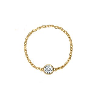 K18 一粒ダイヤモンド チェーンリング 0.1ctの商品画像