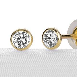 K18 一粒 ダイヤモンド ピアス Bezel (ベゼル) 0.2ct G SI GOOD以上の商品画像