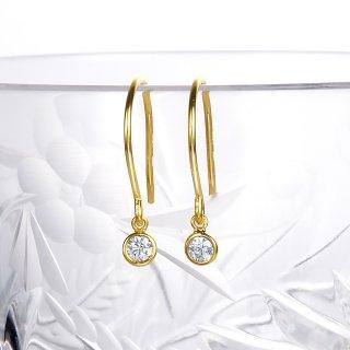 K18 一粒ダイヤモンド フックピアス Petit Bezel (プティ ベゼル) 005 0.1ctの商品画像