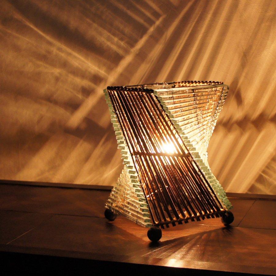 アジアンガラスツイスティランプ・高さ20cm