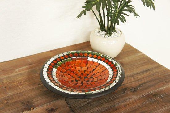 モザイクガラスプレート・オレンジ・直径24cm