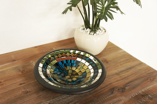 モザイクガラスプレートS・コン・直径20cm
