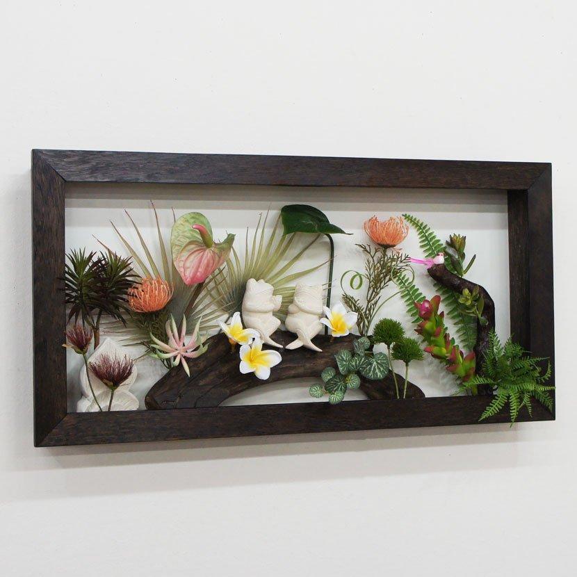 壁に飾るリゾート風人工観葉植物・カエル・幅80cm