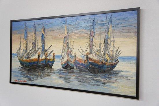 バリ絵画・船・123×63cm・PA-126