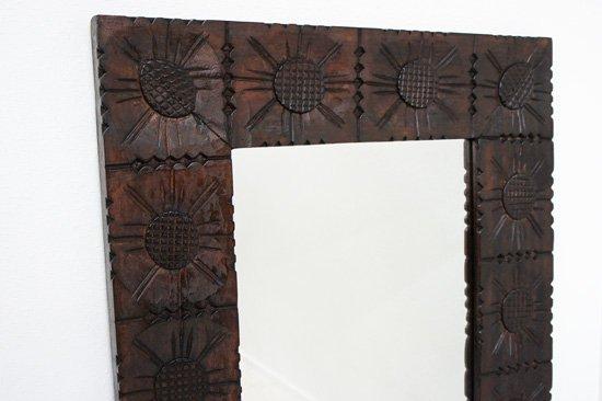 木製フラワー枠アジアンミラー・90×60cm