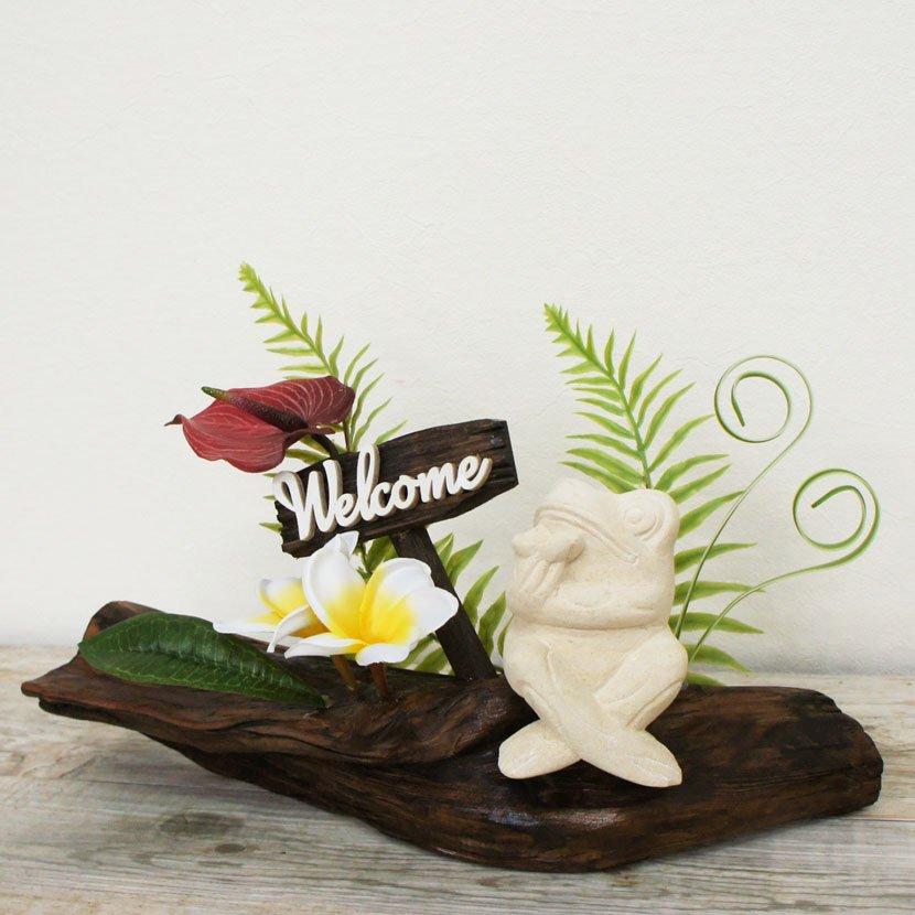 バリカエルと人工観葉植物ウェルカム