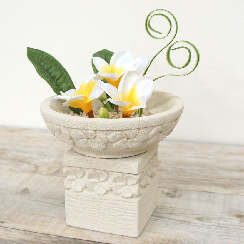 石オブジェ:フラワーボウルプルメリア造花セットS・