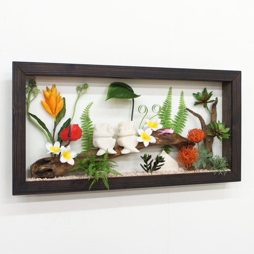 壁に飾るリゾート風人工観葉植物・カエル