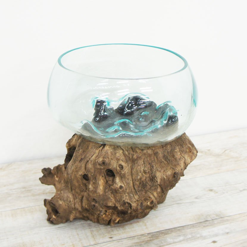 天然木とバリガラスの水鉢・H55*W27cm