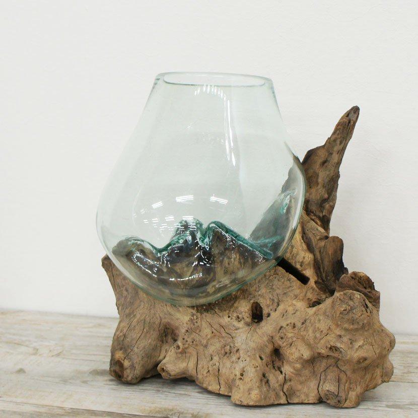 天然木とバリガラスの水鉢・H53*W40cm