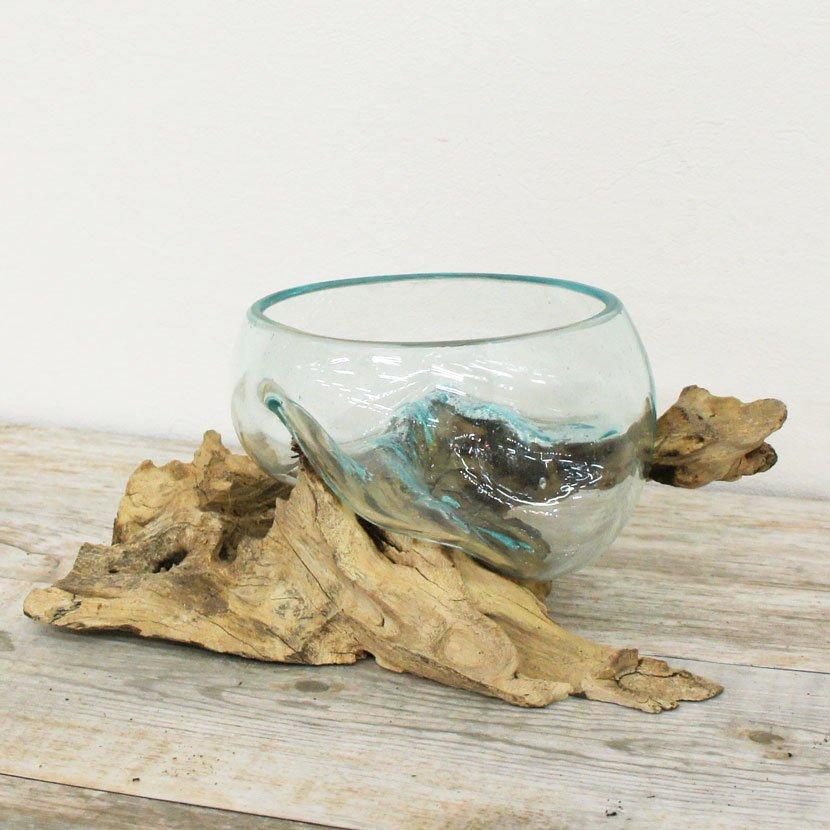 天然木とバリガラスの水鉢・H21*W22cm