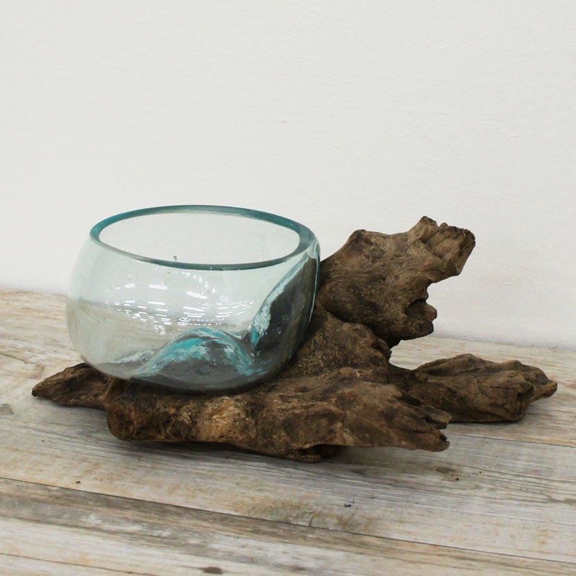 天然木とバリガラスの水鉢・H20*W22cm
