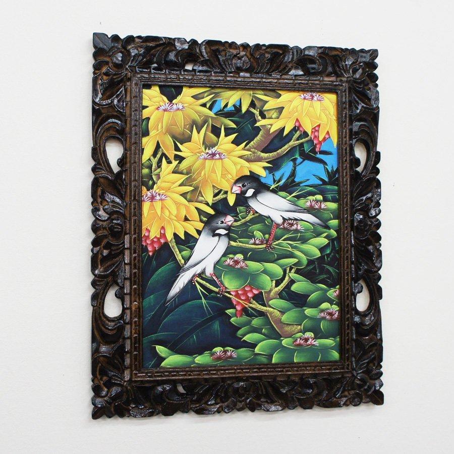 バリ絵画・熱帯花鳥/53*43cm/PA-116-102