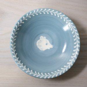 要 美紀  葉もようとくまの鉢 (水色)