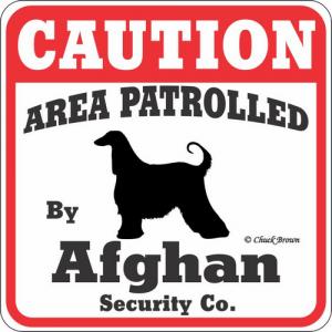 Caution サインボード アフガンハウンド