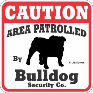 Caution サインボード ブルドッグ