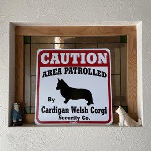 Caution サインボード コーギー カーディガン