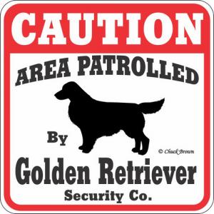 Caution サインボード ゴールデンレトリーバー