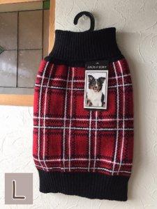 タータンチェックドッグセーター【L】胴64-82cm、丈45cm