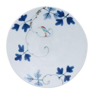 錦鳥とシダ模様 五寸皿