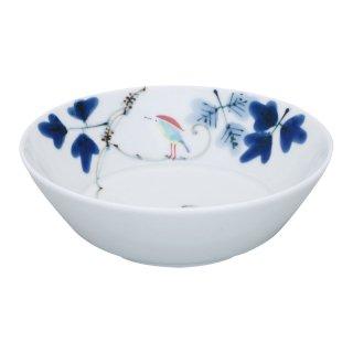 錦鳥とシダ模様 切立四寸深鉢