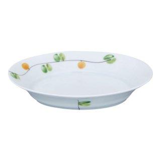 錦オリーブ フレンチ皿(小・橙)