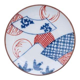 染錦扇面丸紋富士山図 丸小皿
