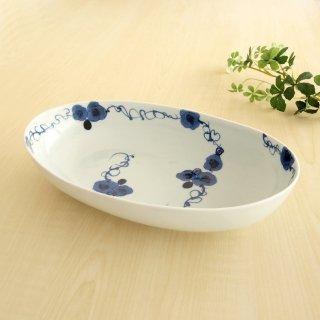 藍染ばら楕円皿(大)