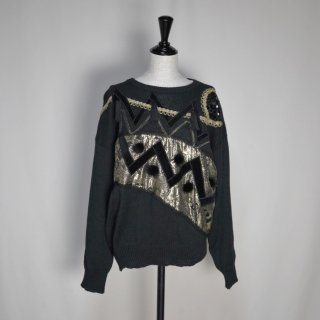 Used 80s Gold Design Sweater