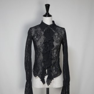 Used Frill Frill Stretch Lace Shirts BLACK
