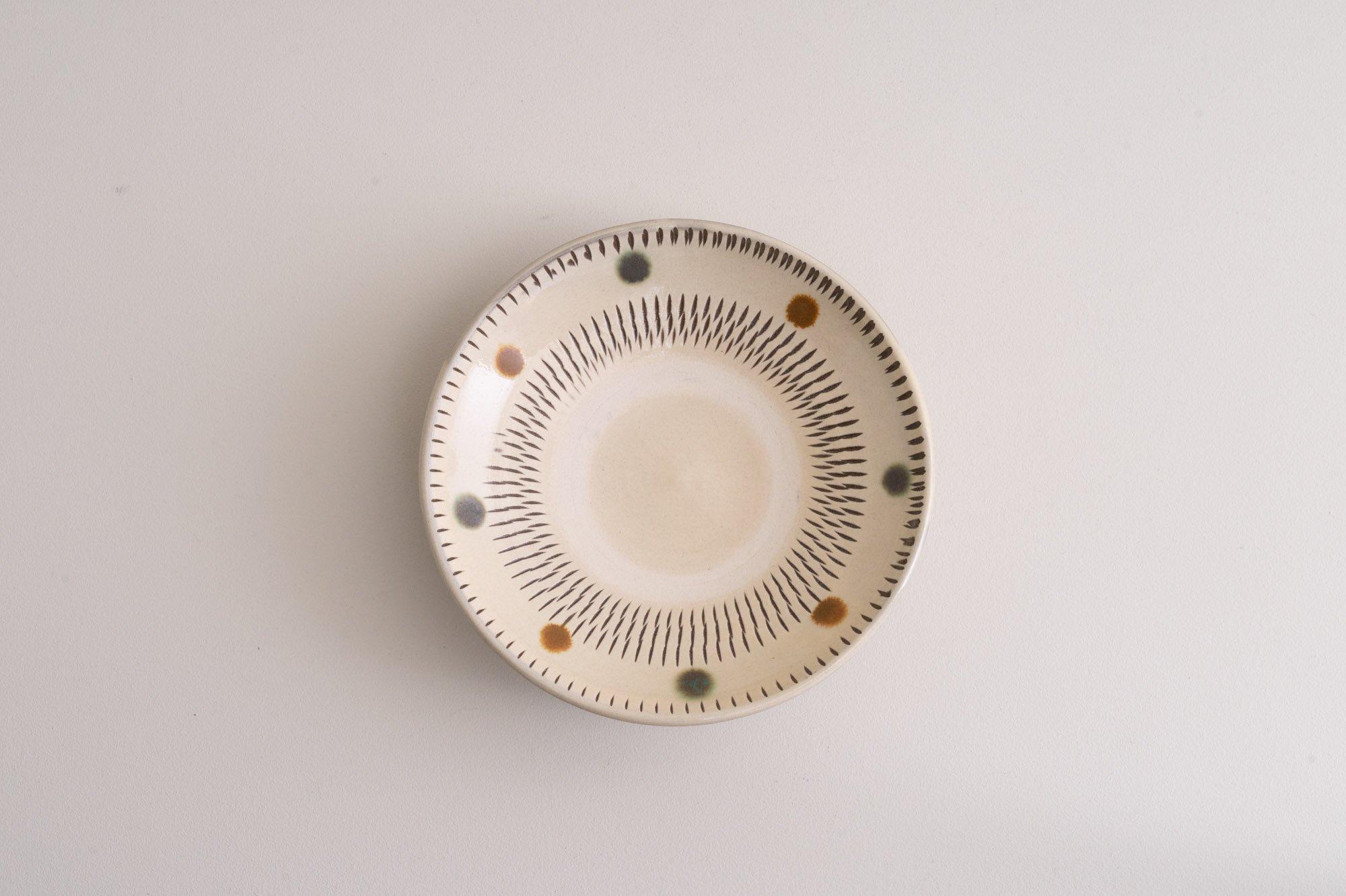 5寸皿(赤青飛びかんな)A
