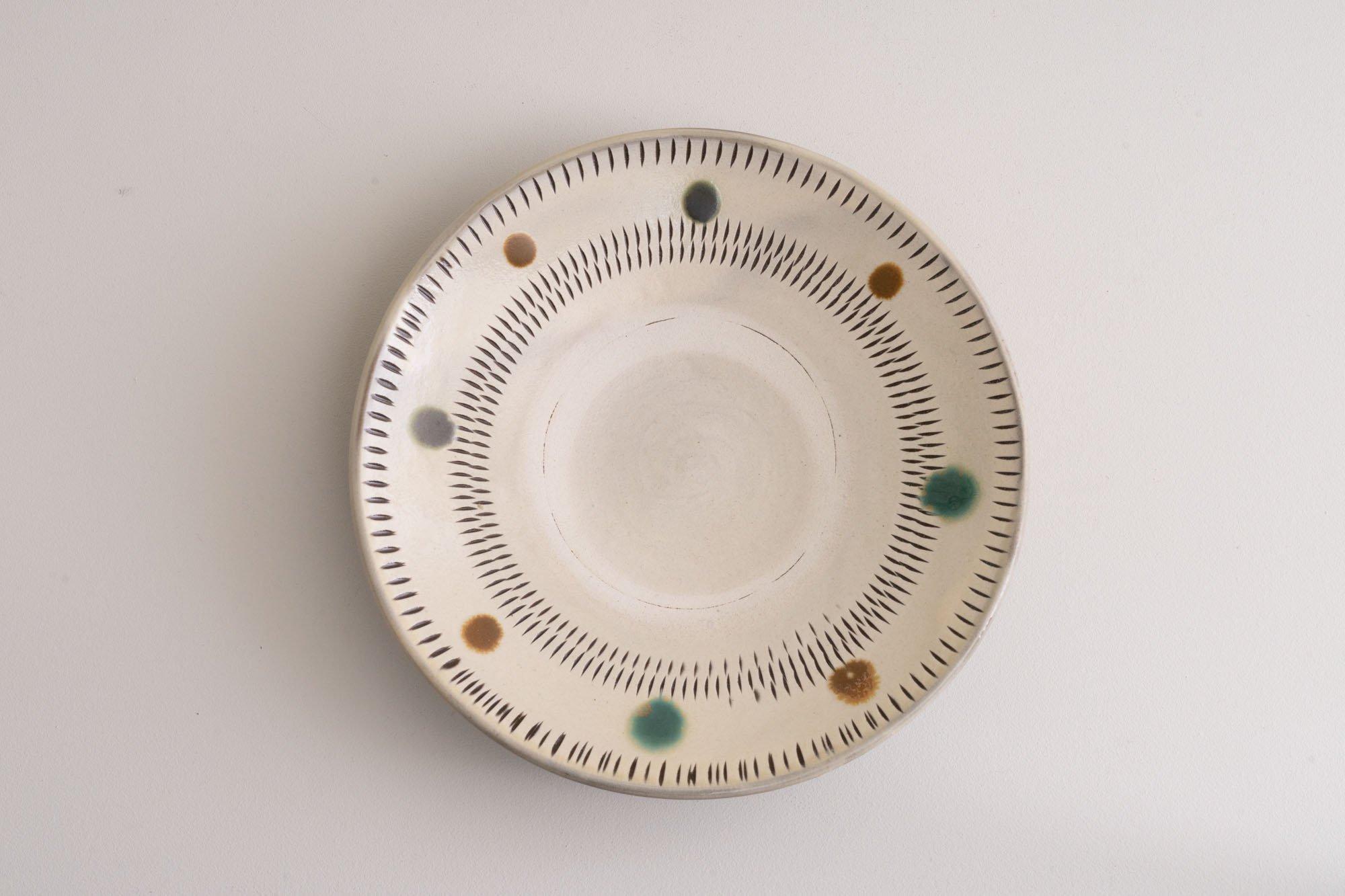 7寸皿(赤青飛びかんな)