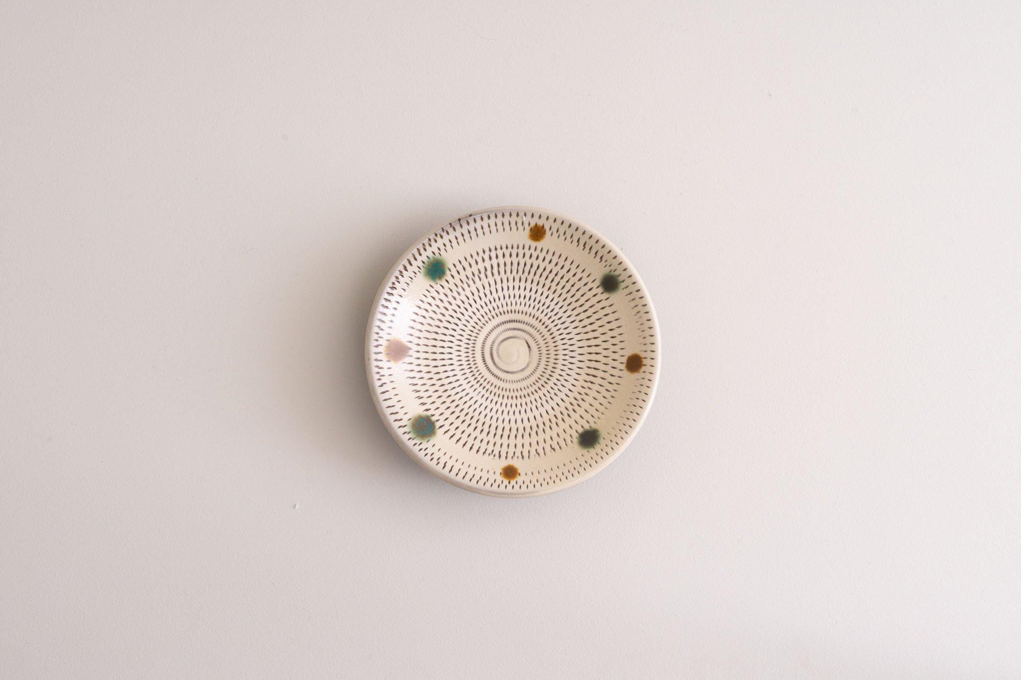 4寸皿(赤青飛びかんな)