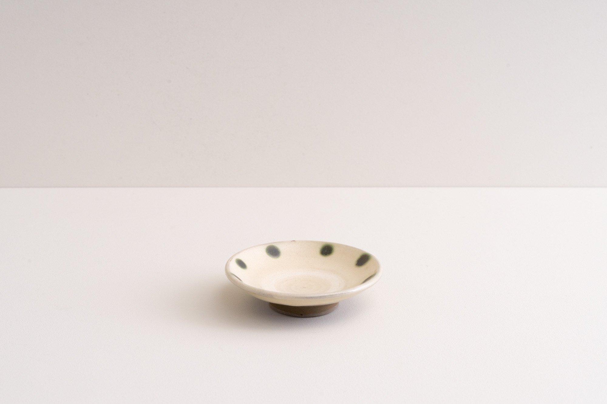 3寸豆皿(青ドット)