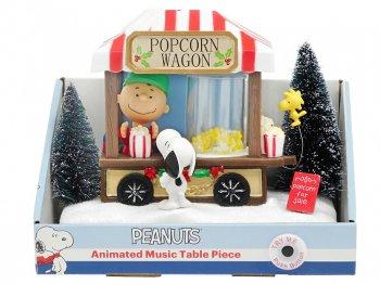 ピーナッツ スヌーピー&チャーリーブラウン w/ ウッドストック ポップコーンワゴン ミュージカル フィギュア アクション ライトアップ クリスマス