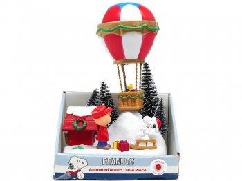 ピーナッツ スヌーピー&チャーリーブラウン w/ウッドストック 気球 バルーン ミュージカル フィギュア アクション ライトアップ クリスマス フィギュア