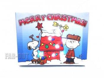 ピーナッツ スヌーピー&チャーリーブラウン クリスマス 犬小屋の飾りつけ ライトアップ キャンバス アート PEANUTS