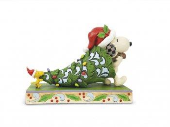 ピーナッツ・トラディション ピーナッツ スヌーピー w/ ウッドストック クリスマスツリーを運ぶ フィギュア ジム・ショア ホールマーク限定