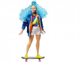 バービー エクストラ ポーザブル ドール ブルーのカラーヘア ボンバージャケット ショートパンツ スケートボード 子猫のフィギュア付き 人形 Barbie Extra Doll Bomber Jack