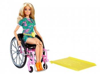 バービー ファッショニスタ 車椅子 ドール トロピカル柄のロンパース スロープ付き ブロンド 人形 Barbie Fashionistas Doll with Wheelchair (GRB93)